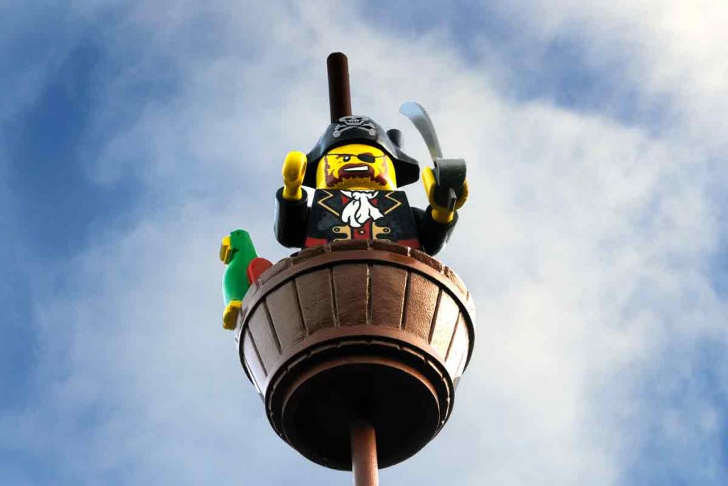 Lego pirate at Legoland. The park features eye-popping creations such as Knights Kingdom, Pirate Shores and Kingdom of the Pharaohs.