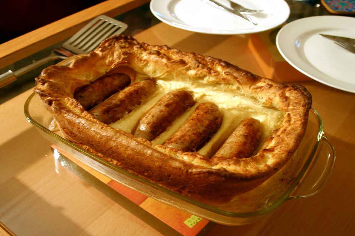 Toad in the hole is one of the regional food delicacies in the UK.