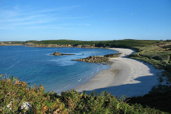An overview of Great Bay, one of the best beaches in the UK.